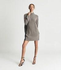 Reiss SYDNEY OVERSIZED JUMPER DRESS GREY   chic high neck sweater dresses   womens stylish knitwear