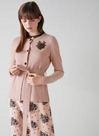 L.K. BENNETT SYLVIE PINK WOOL MIX CARDIGAN ~ luxe bead embellished tie waist cardigans ~ feminine knitwear