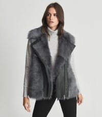 REISS TABBY ZIP-UP SHEARLING GILET CHARCOAL ~ winter glamour ~ luxury gilets ~ luxe sleeveless jackets