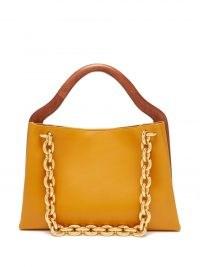 BOTTEGA VENETA Mount grained-leather tote bag – chunky chain strap bags – chic designer handbags