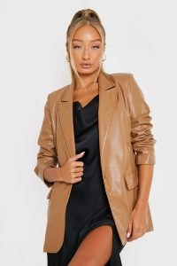 IN THE STYLE TAN PU BLAZER – light brown luxe style blazers – womens on-trend jackets