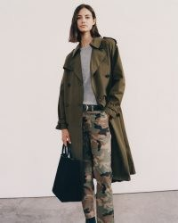 NILI LOTAN TANNER TRENCH COAT in Olive ~ classic green belted coats ~ Autumn outerwear