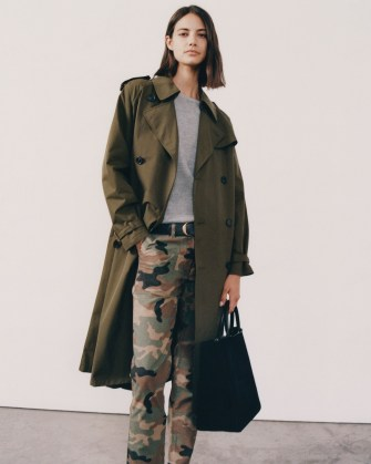 NILI LOTAN TANNER TRENCH COAT in Olive ~ classic green belted coats ~ Autumn outerwear - flipped