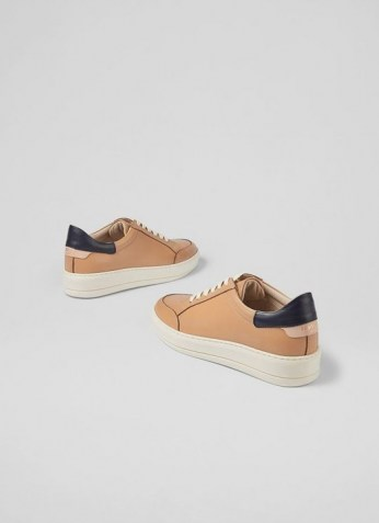 L.K. BENNETT TEAGAN CAMEL AND NAVY LEATHER TRAINERS / womens light brown sneakers / women's casual sports inspired footwear - flipped