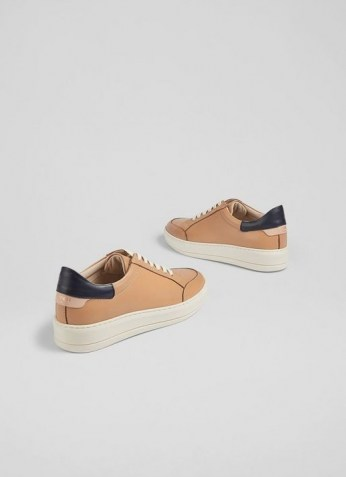 L.K. BENNETT TEAGAN CAMEL AND NAVY LEATHER TRAINERS / womens light brown sneakers / women's casual sports inspired footwear
