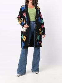 The Elder Statesman flower jacquard-knit cardigan   black floral patterned longline cardigans   womens cashmere knitwear
