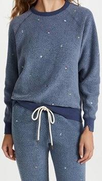 THE GREAT. The Sherpa College Sweatshirt Vintage Navy / blue fluffy textured sweatshirts