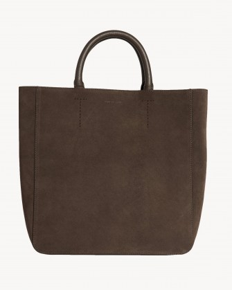 NILI LOTAN THE NL TOTE Espresso ~ chic suede top handle bags - flipped