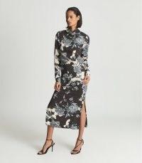REISS THERESA FLORAL PRINT HIGH NECK MIDI DRESS BLUE – elegant long sleeve side slit dresses – fluid fabric fashion