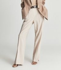 REISS TIA WIDE LEG TAILORED TROUSERS PINK ~ womens front seam split hem trousers ~ wardrobe essentials for an effortlessly stylish look
