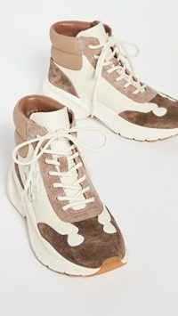 Tory Burch Good Luck Hiker in Cream/Oakwood ~ colour block tonal brown trainers