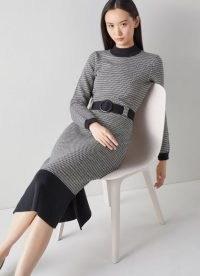 L.K. Bennett TURNER BLACK AND WHITE COTTON-MERINO ZIGZAG KNIT DRESS   chic knitted dresses
