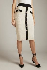 KAREN MILLEN Tweed Knit Military Trim Pencil Skirt – textured cream skirts