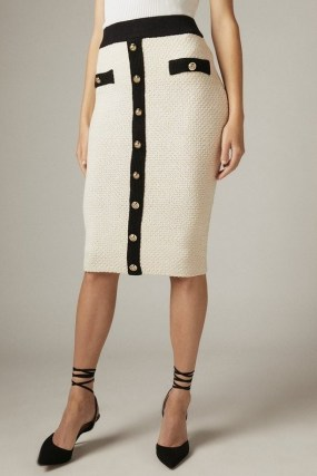 KAREN MILLEN Tweed Knit Military Trim Pencil Skirt – textured cream skirts - flipped
