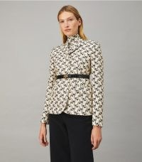 TORY BURCH TWILL CREPE JACKET in Navy Stencil Floral ~ beautiful tailored boxy style jackets ~ fashion to love forever