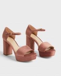 TED BAKER AURITAA Velvet Heeled Platform Sandal in Pink / luxe style retro platforms / womens vintage inspired platforms