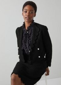 L.K. BENNETT VENICE BLACK COTTON MIX JACKET ~ classic tweed-inspired scalloped edge jackets ~ womens chic textured outerwear
