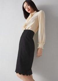 L.K. BENNETT VENICE BLACK TWEED SCALLOP EDGE PENCIL SKIRT ~ textured scalloped hem skirts