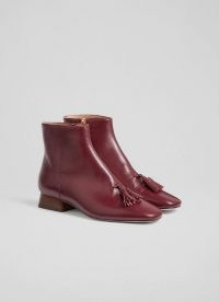 L.K. BENNETT VERITY DARK RED SOFT CALF LEATHER ANKLE BOOTS / luxe tasseled autumn boots / front tassel winter footwear