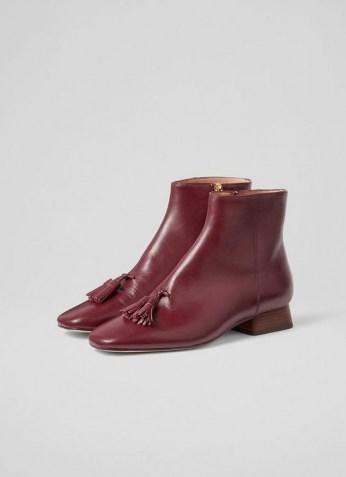 L.K. BENNETT VERITY DARK RED SOFT CALF LEATHER ANKLE BOOTS / luxe tasseled autumn boots / front tassel winter footwear - flipped