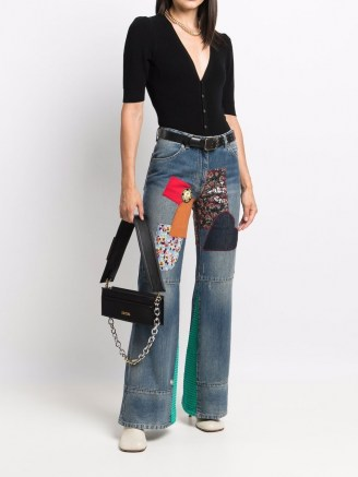 Victoria Beckham patchwork wide-leg jeans   womens designer denim - flipped