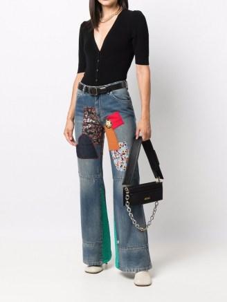 Victoria Beckham patchwork wide-leg jeans   womens designer denim