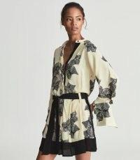 REISS VIVYIAN FLORAL-SKETCH PRINT SATIN DRESS / luxe feminine style tie waist dresses