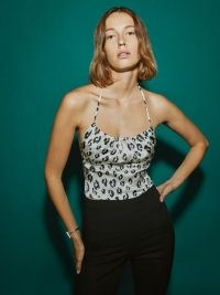 REFORMATION Wade Top Snow Leopard / animal print strappy open back tops / silk fashion