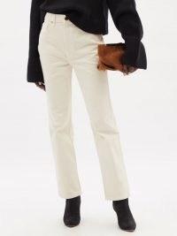 KHAITE Abigail cropped straight-leg jeans in ivory   womens off-white denim fashion