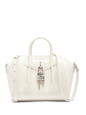 GIVENCHY Antigona Lock mini white leather bag | small luxe top handle handbags | structured designer bags - flipped