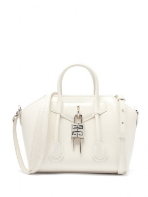 GIVENCHY Antigona Lock mini white leather bag | small luxe top handle handbags | structured designer bags