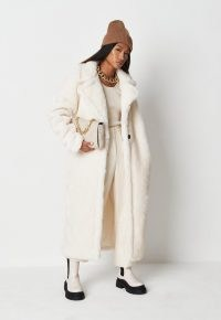 MISSGUIDED white borg teddy seam detail longline coat – textured luxe style winter coats – womens faux shearling outerwear