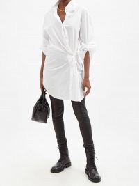 ANN DEMEULEMEESTER Ceciel white asymmetric cotton-poplin shirt dress ~ chic contemporary fashion ~ side fastening dresses