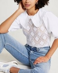 River Island White crochet top | part knitted puff sleeve tops | oversized collar fashion