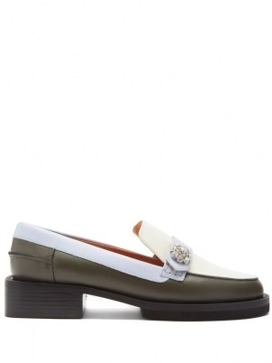 GANNI Crystal-embellished leather loafers / womens colour block chunky heel loafer shoes - flipped