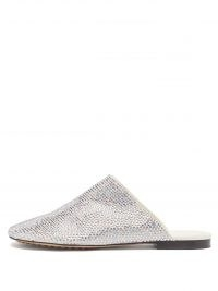 BOTTEGA VENETA Crystal-embellished suede backless loafers ~ womens luxe flat loafer mules ~ women's shoes covered with pink and blue crystals