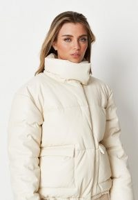 MISSGUIDED white faux leather puffer jacket – high neck padded jackets