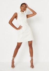 MISSGUIDED white faux leather skater mini dress – sleeveless high neck going out evening dresses