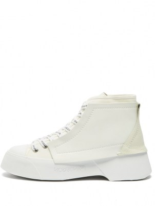 JW ANDERSON High-top leather trainers / womens white chunky vintage style sneakers / women's sports inspired footwear - flipped