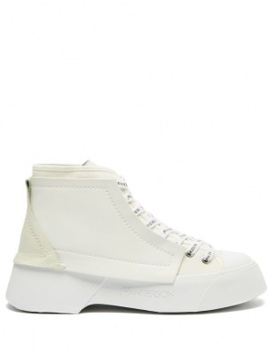 JW ANDERSON High-top leather trainers / womens white chunky vintage style sneakers / women's sports inspired footwear