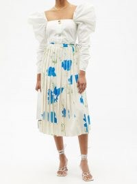REJINA PYO Irma pleated floral-print recycled-fibre skirt – bold flower printed skirts
