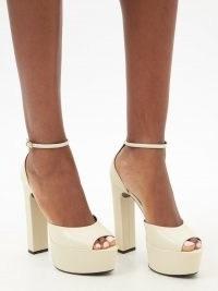 SAINT LAURENT Jodie cream leather platform sandals ~ beautiful luxe platforms ~ glamorous retro footwear ~ 70s vintage style high heels