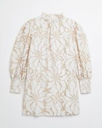 RIVER ISLAND White lace high neck mini dress ~ floral romantic style ruffle neck dresses