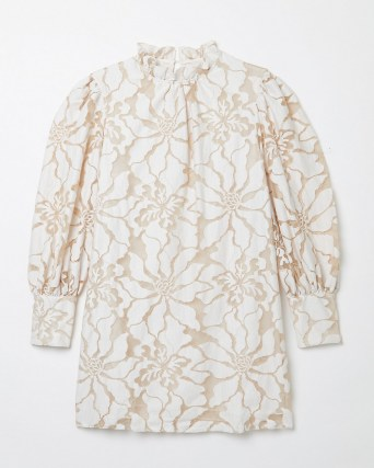 RIVER ISLAND White lace high neck mini dress ~ floral romantic style ruffle neck dresses - flipped