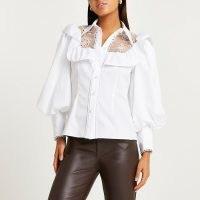 RIVER ISLAND White lace trim puff sleeve shirt ~ romantic inspired volume sleeve semi sheer panel shirts