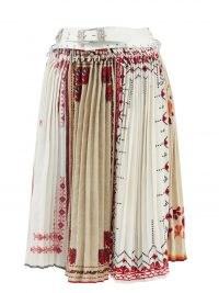 CHOPOVA LOWENA Panelled belted cotton midi skirt | embroidered pleated skirts
