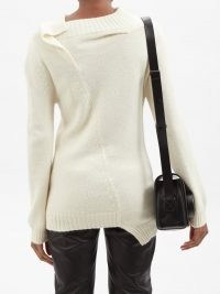 ANN DEMEULEMEESTER Quito asymmetric-back sweater ~ chic asymmetrical sweaters – women's contemporary knitwear