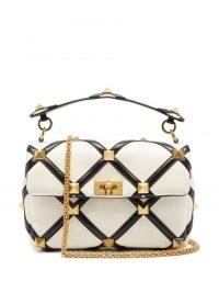 VALENTINO GARAVANI Roman Stud leather shoulder bag in white and black lattice – luxe monochrome handbags