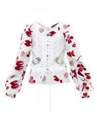 CHOPOVA LOWENA Taz corset-front floral-flocked cotton blouse | structured lace-up bodice blouses