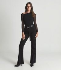 Reiss WILLOW OFF-THE-SHOULDER SHEER-SLEEVE TOP BLACK – chic contemporary style asymmetric tops